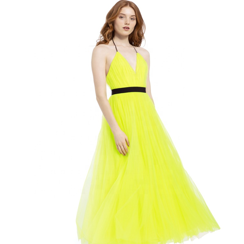 OEM women new fashion long yellow tea length princess bisty neon pleated evening gown dress