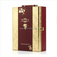 factory supply top quality luxury golden champagne glass wine gift box with handle