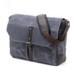 Stylish vintage heavy duty waterproof waxed canvas men messenger shoulder cross body bag