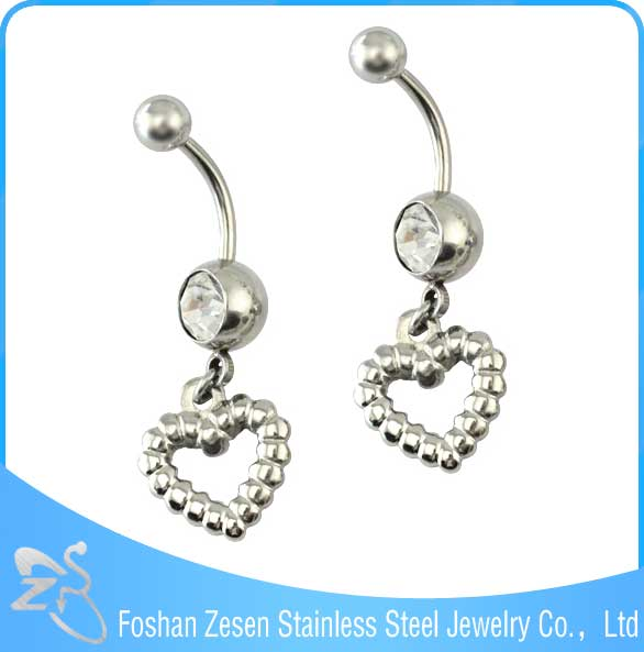 BR01752 indian women navel piercing hanging heart belly body piercing jewelry