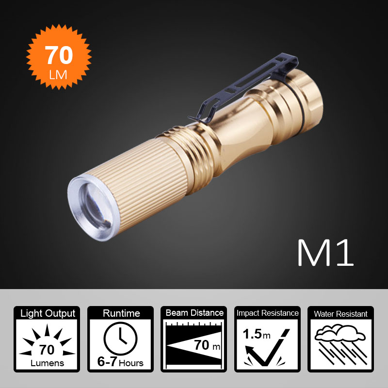 AA / 14500 battery rechargeable mini led flashlight with clip