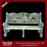 green marble bench with grape carving