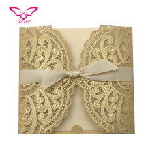 2019 New Collection Gold Color Hot Stamping And Laser Cutting Wedding Invitation <strong>Card</strong>