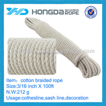 3/16 inch X 100 ft soft cotton braid rope 5mm
