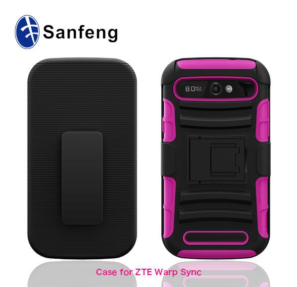 100% fit mobile phone case for ZTE warp sync N9515 belt clip case ...