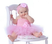 Lovely Baby girl flower tulle tutu dress with baby headband first birthday chiffon party dresses