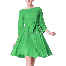 Women 50s Retro Design 3/4 Sleeve Style Vintage Retro Green Formal Swing Rockabilly Dresses With Removable Belt Stripes