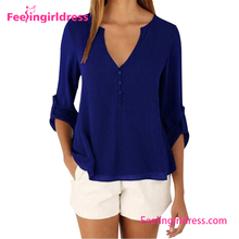Blue office cutting for ladies new blouse neck designs