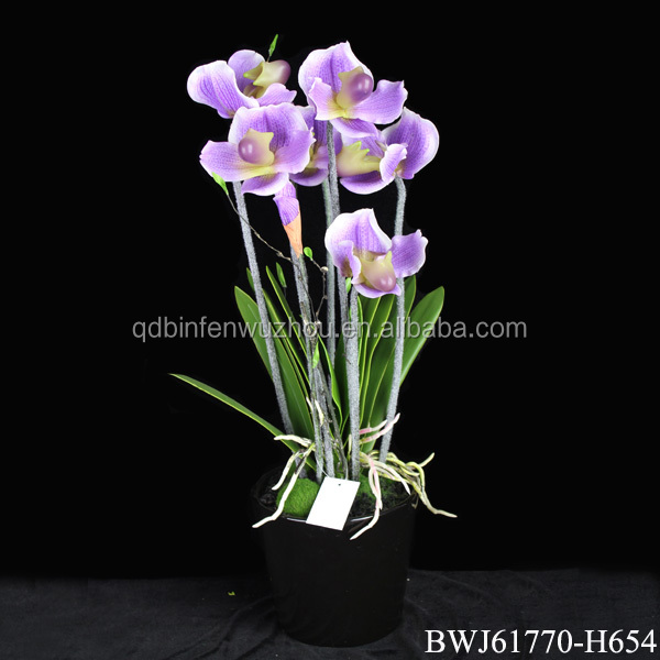 China Cheap artificial purple orchids latex flowers with pot wholesale