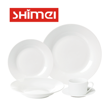 5 20 30 pcs White Dining Set Porcelain Dinnerware with diner plates Soup Bowls Side Plates Cup Saucers