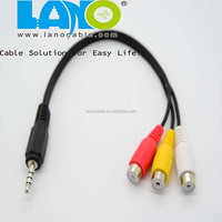 Fashion hot sales 3.5mm jack to 3 rca audio splitter cable