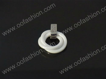 High quality bling Charming stainless steel zircon inlaid ceramic pendants jewelry ,love ceramic pendants of fashion jewelry