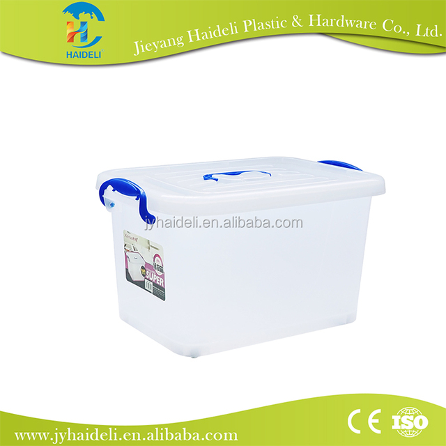 High capacity Low Price Guaranteed Quality transparent 50L plastic Storage container box with wheel and lock