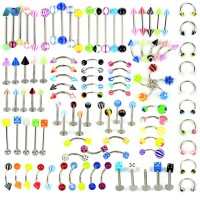 21 Style 105Pcs Body Jewelry Piercing Eyebrow Belly Lip Bar Ring