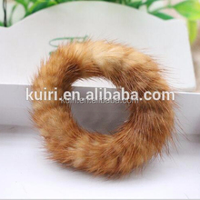 China Supplier Real Mink Fur Elastic Hair Ring Accessories