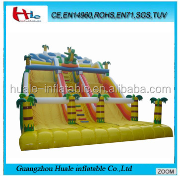 Giant inflatable double lane slides,inflatable dinosaur dry slide