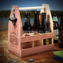 Custom engraved logo 6 pack beer tote wooden bottle caddy wine carrier