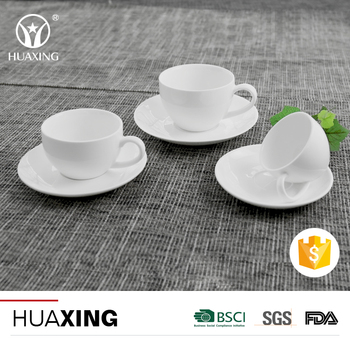 Chaozhou factory hotel restaurant white ceramic coffee cup with saucers