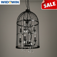 Vintage Wrought Iron Birdcage Chandelier With