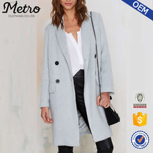 Fashion Winter Collection OEM Double-breasted Longline Wool Coats