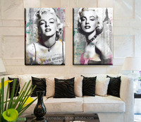 Modern woman portrait canvas oil painting of marilyn monroe pictures woman printing giclee wall art for living room decoration