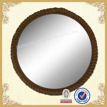 Flax rope frame round hanging dressing mirror