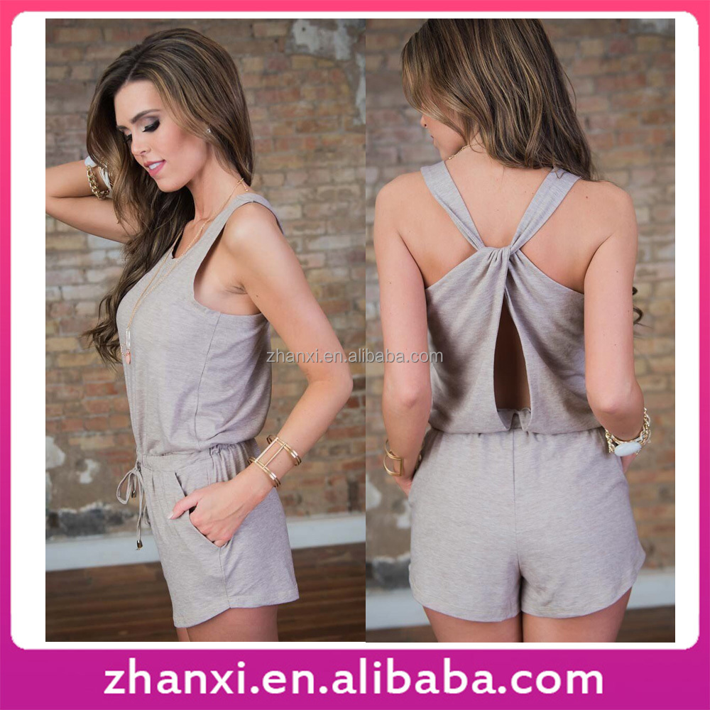 Hot Selling Casual Cotton Sleeveless Short Sports Adult Onesie Jumpsuits and One Piece