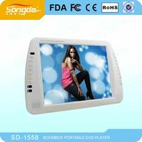 15inch Big Size Portable Dvd Player With Tv Tuner/fm/game/usb/sd/vga