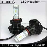 DC12v-24v 5202 h16 auto led headlight bulb, 4000lm high lumens fanless 6500k led replacement bulbs for cars