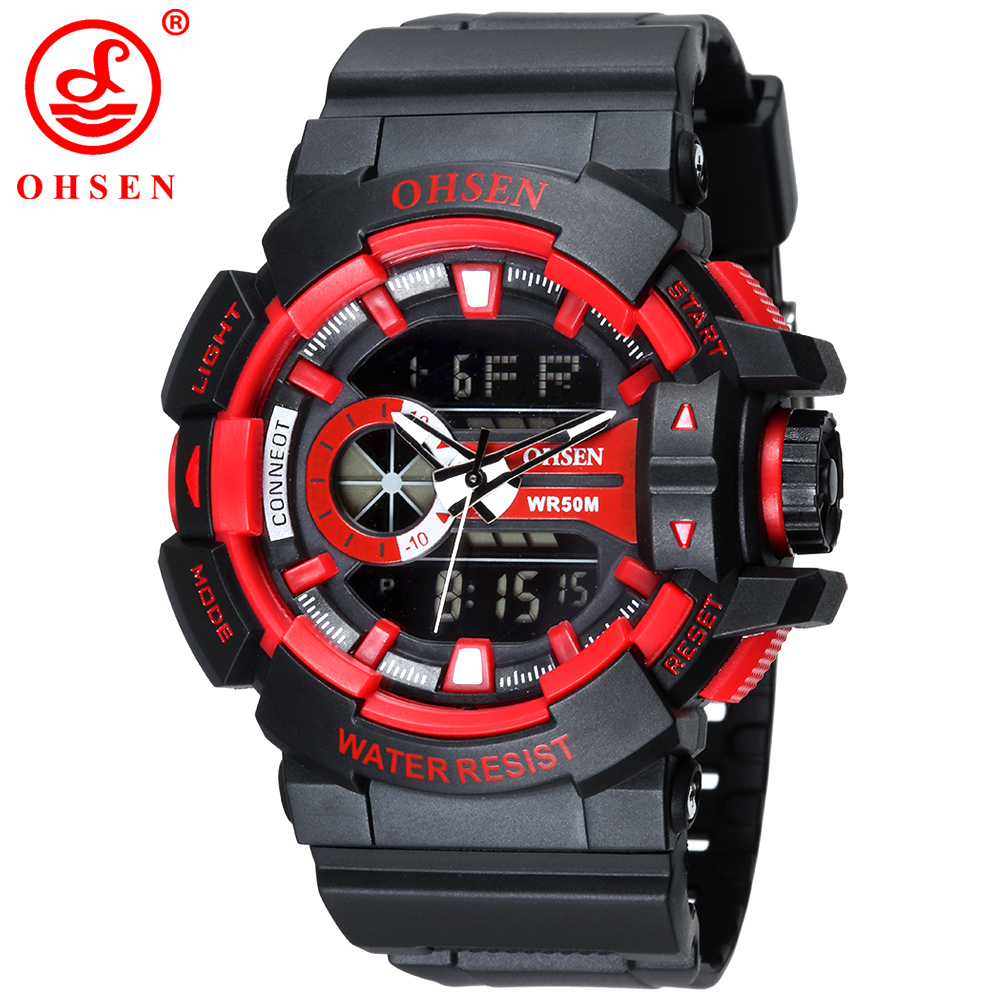 Ohsen 1505 Analog Digital LED Date Day Alarm Chronograph Men's Sports Watches Outdoor Quartz Black Rubber Strap Military Wrist W
