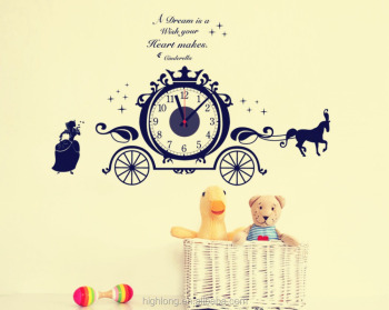 The Cartoon Horse Luxury Home Decor 3D Big Wall Sticker Clock For Home Decoration