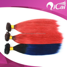 Unprocessed two tone color ombre virgin brazilian hair,red color human hair weaving