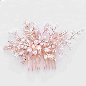 e1f6a91d9b73 Handmade Rose Gold Pearls Crystal Hairpins Wedding Bridal Beads Hair Comb  For Women