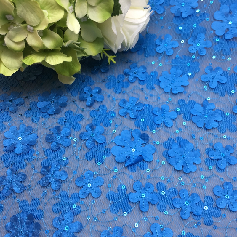 Sequined Beaded 3D African French Embroidered Mesh royal blue large sequin applique fabric