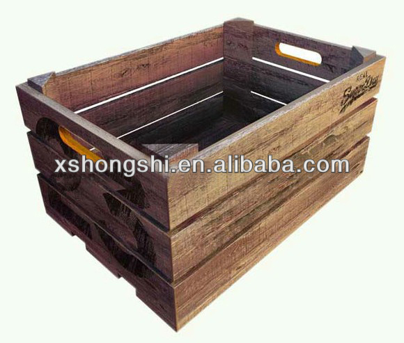 Wooden fruit and vegetable crate rack storage boxes bins for Buy wooden fruit crates