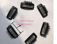 1000pcs Hairpins 32mm Hair Extension Clips Black Color Snap Clips for Hair Extension I Shape Wig Clips tool