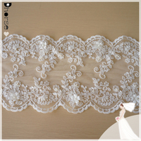 New 2015 hot sell DHBL1848 fancy ivory chemical 3d alencon beaded trim for wedding dress
