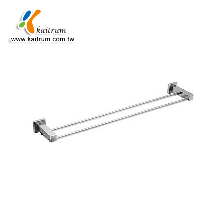 Modern Design Square Shape Brass Chrome 600mm double towel bar in bathroom towel bar