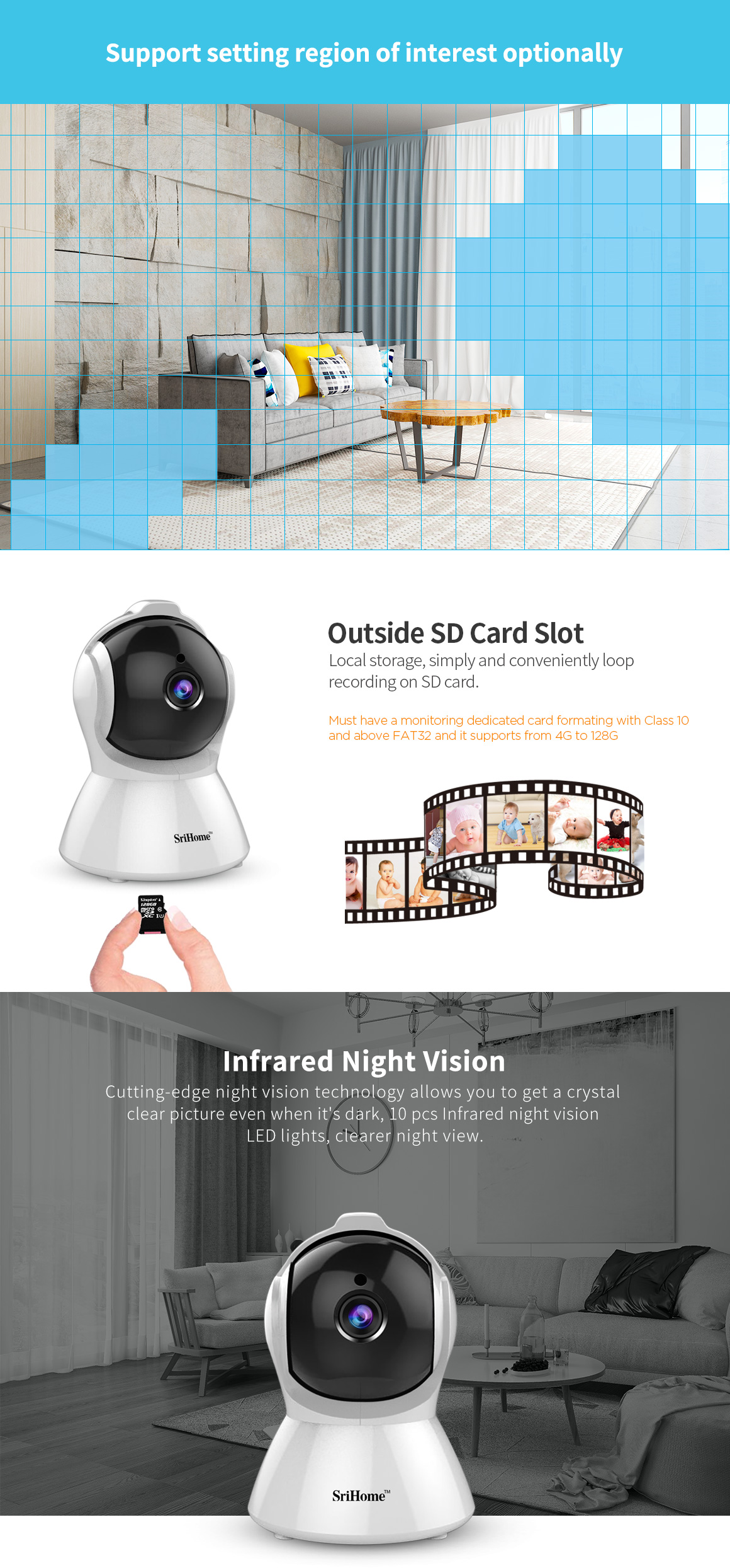 Sricam SH025 Wireless HD Security CCTV IP Camera with Night Vision