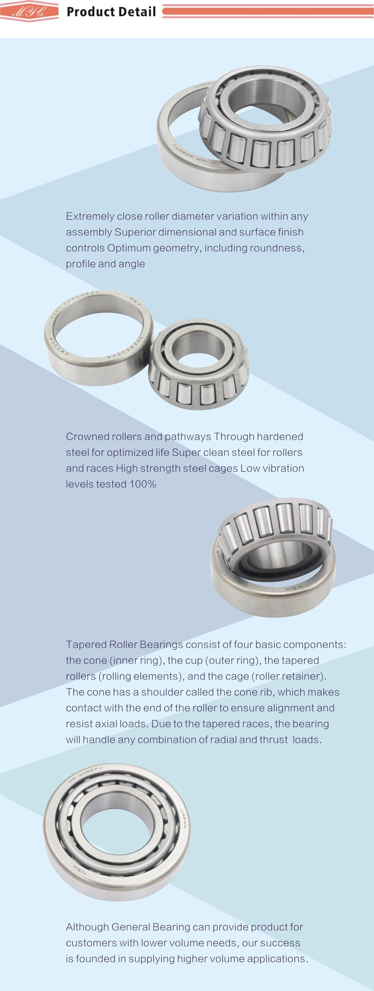 Alibaba recommend tapered roller bearing double row L44543 inch taper roller bearing
