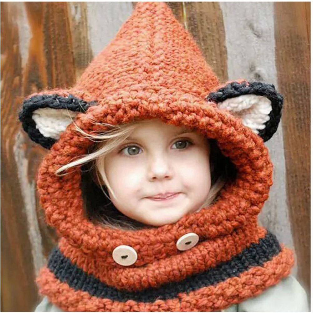 Winter Beanie Baby Child Animal Warm Fox Hat Hooded Scarf Earflap Wool Knit Caps