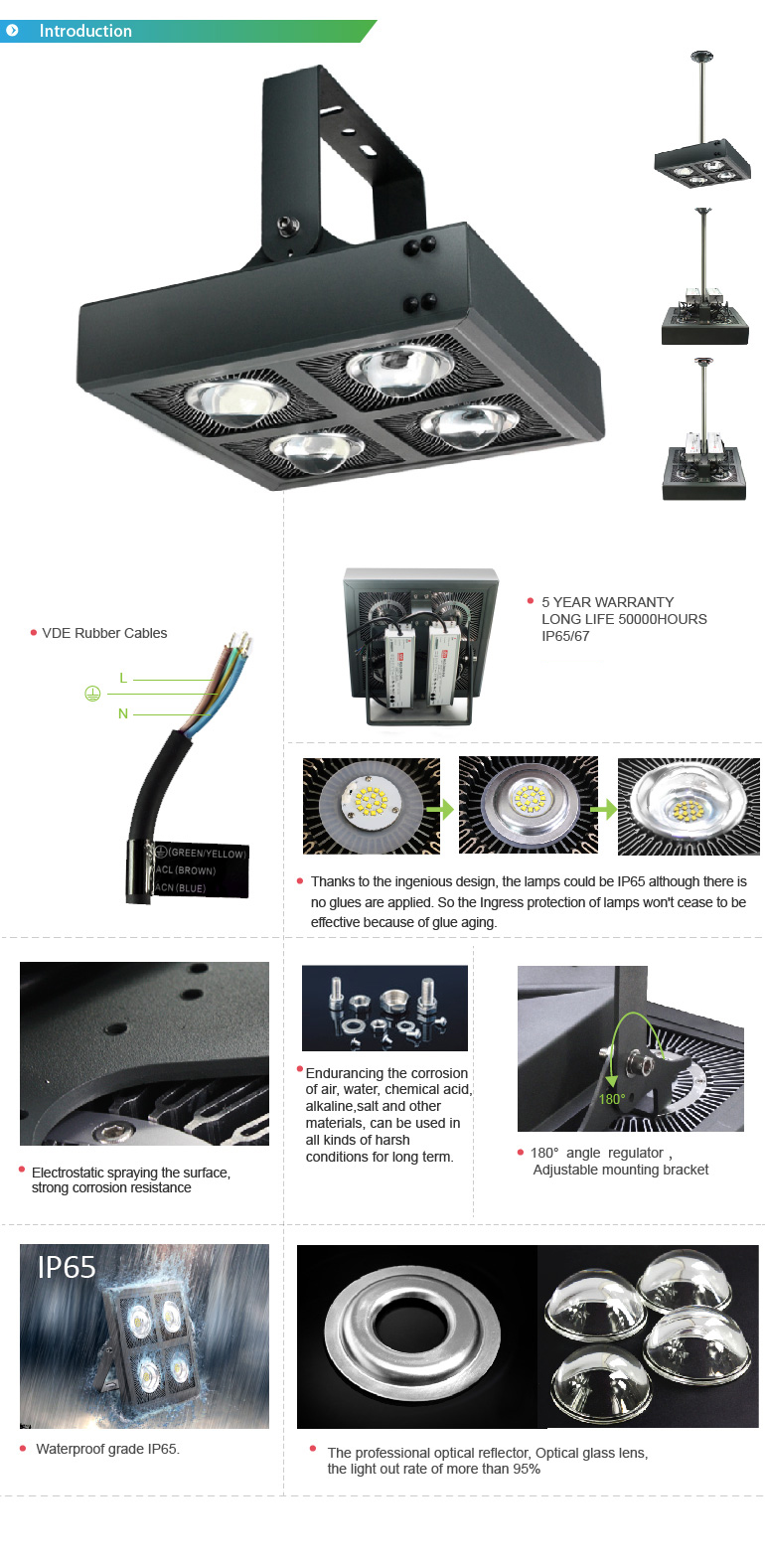 High pole 5 years 36000 lumen ip66 300 watt led flood light outdoor