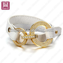 gold covering fashion jewellery leather bracelet with diamonds
