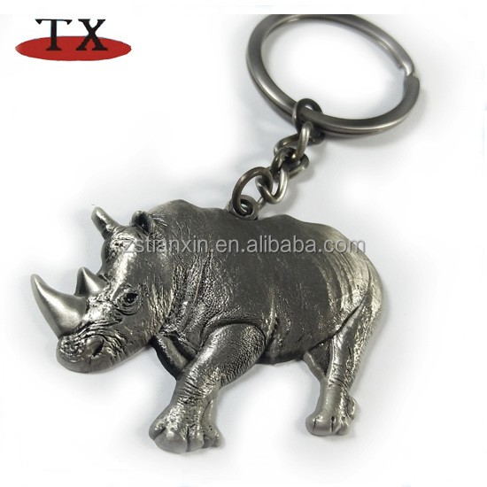Antique Rhino key chain river horse metal key chain animal with thick grey skin and a horn keychain
