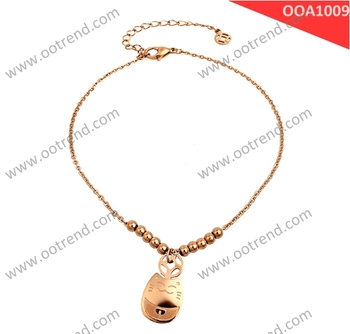 Fortune Cat rose golden color anklet with fancy design