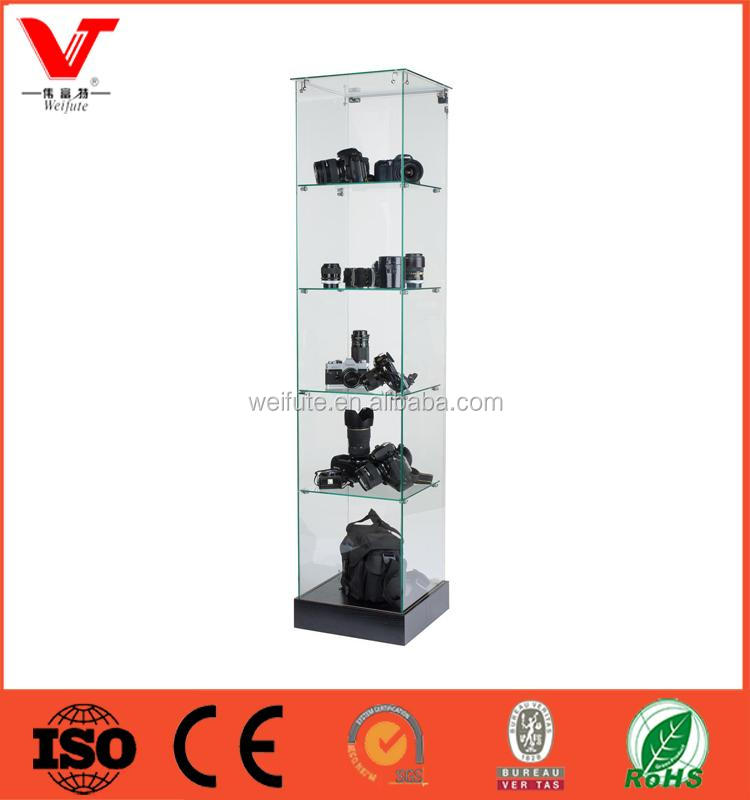 Modern design floor wood glass showcase with led light for camera retail store