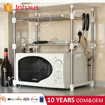 Factory supply metal adjustable stainless steel kitchen storage shelf