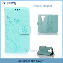 China wholesale Embossed stand double magnet with diamond PU Leather mobile phone flip cover case for lg k7