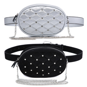2019 new fashion women waist bags 2 way chain bags velvet quilted leather fanny packs