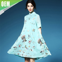 Hot sale western and indian a line loose wholesale embroidered dress